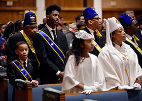 The members of the Knights of Peter Claver, Ladies Auxiliary and members of the junior division are shown in uniform dress and attire as they turn-out in attendance at the annual Martin Luther King Memorial mass at St Rita Church in Fort Worth. Each year the diocese of Fort Worth hosts the annual memorial mass and the knights have been there every year as a part of the Diocese of Fort Worth.
